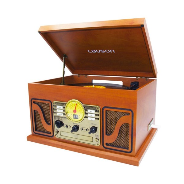 Lauson cl606 madera equipo de sonido con tocadiscos vinilo radio fm cd usb mp3 5w