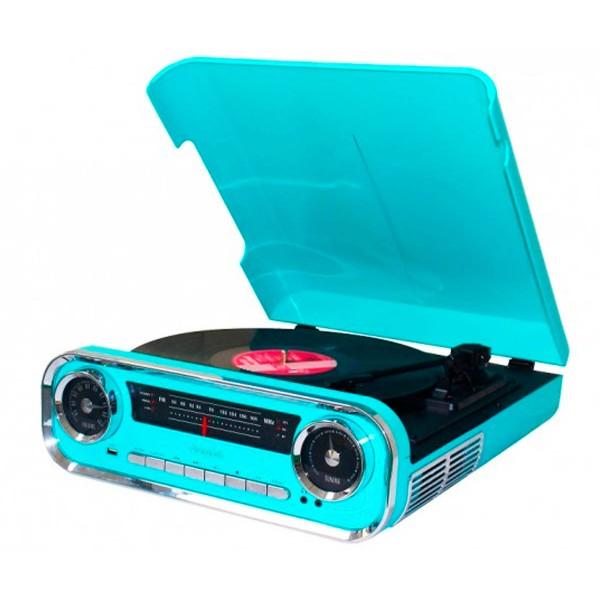 Lauson 01tt15 azul tocadiscos vintage 3 velocidades bluetooth usb grabación mp3 fm