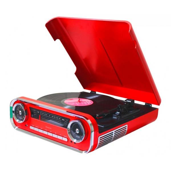 Lauson 01tt15 rojo tocadiscos vintage 3 velocidades bluetooth usb grabación mp3 fm