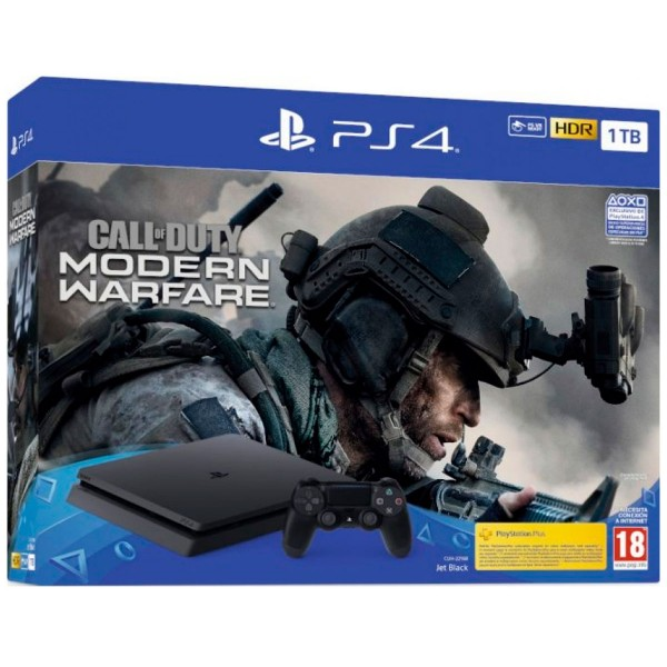 Sony playstation 4 slim 1tb pack call of duty:modern warfare + mando dualshock 4