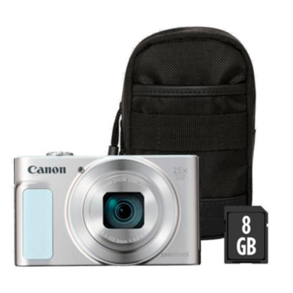 Canon powershot sx620hs blanco kit cámara compacta 20.2mp full hd 25x gran angular digic4+ wifi nfc bolsa sd 8gb