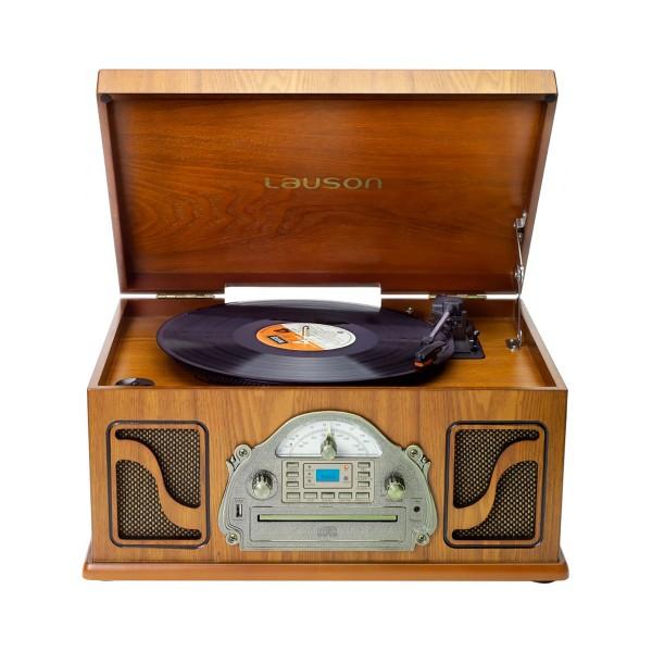 Lauson ivx22 tocadiscos clásico de madera cd radio grabación digital mp3 bluetooth vinilo