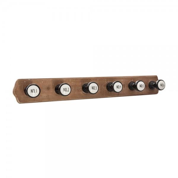 Colgador de madera con 6 perchas 66x8,5x8,8cm